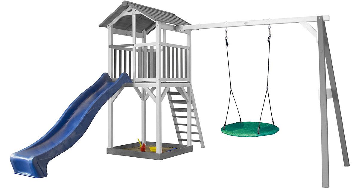 Beach Tower Spielturm mit Summer Nestschaukel - Blaue Rutsche grau/hellblau