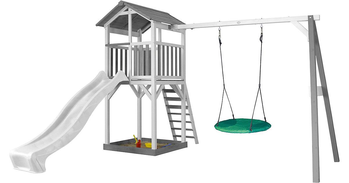 Beach Tower Spielturm mit Summer Nestschaukel - Weiße Rutsche grau/weiß