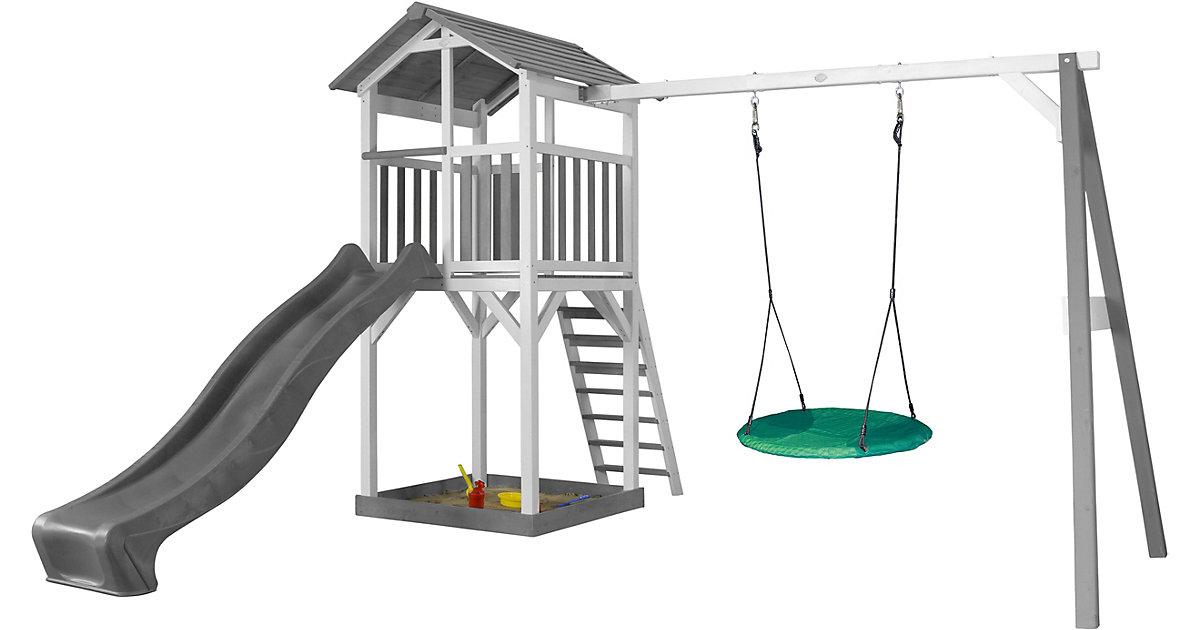 Beach Tower Spielturm mit Summer Nestschaukel - Graue Rutsche weiß/grau