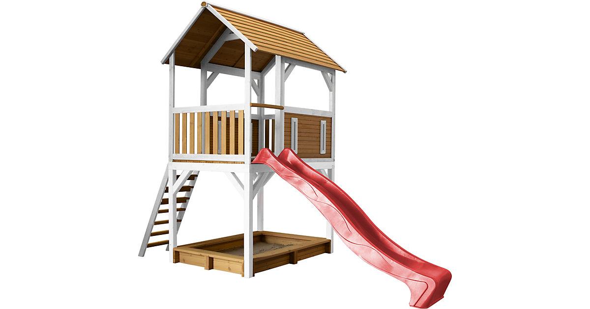 Pumba Spielturm Braun/Weiß - Rote Rutsche braun/rot