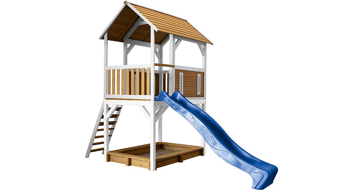 Pumba Spielturm Braun/Weiß - Blaue Rutsche braun/blau
