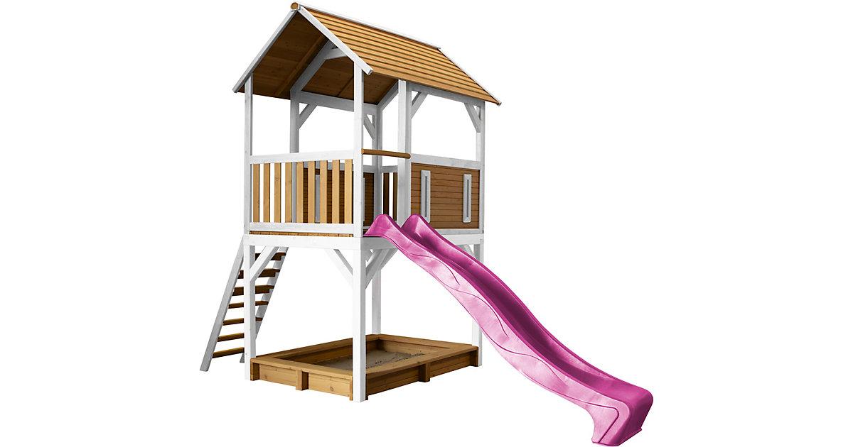Pumba Spielturm Braun/Weiß - Lila Rutsche braun/lila