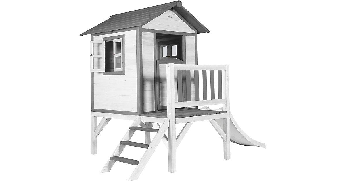 Lodge XL Spielhaus Klassisch - Weiße Rutsche grau/weiß