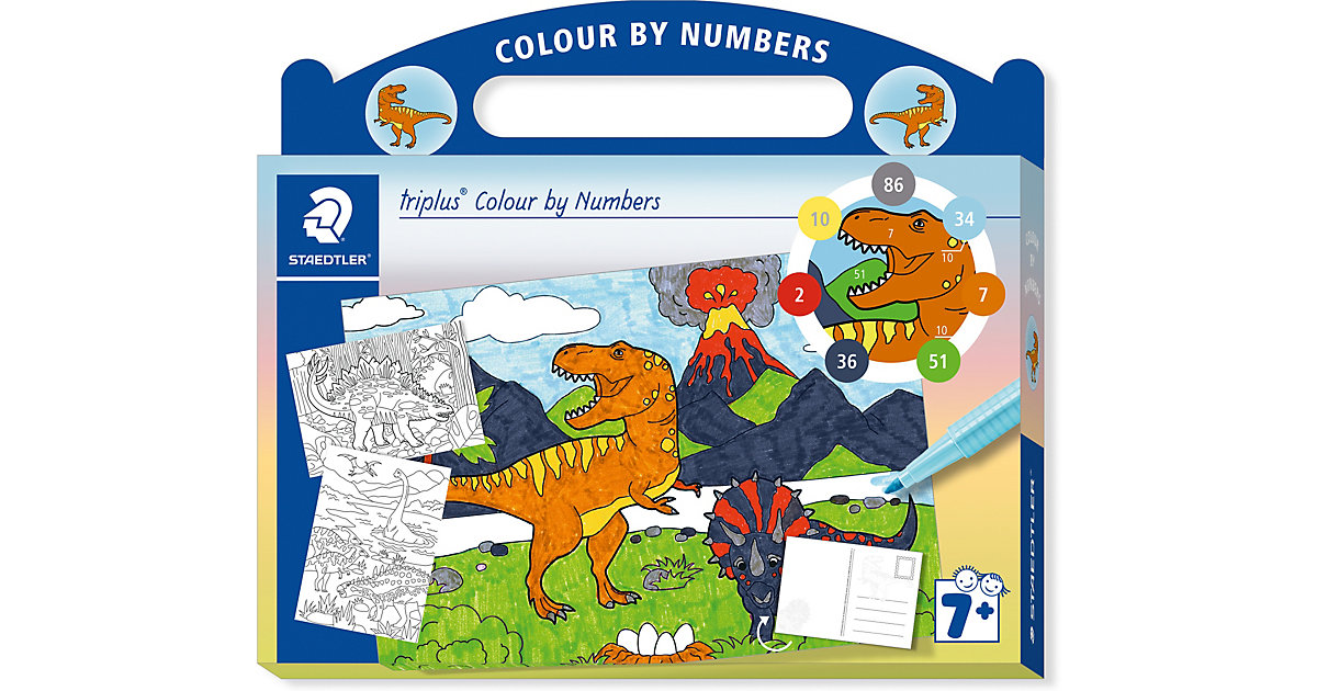 Malset triplus Colour by Numbers Dinosaurier, inkl. Stifte, 13-tlg.
