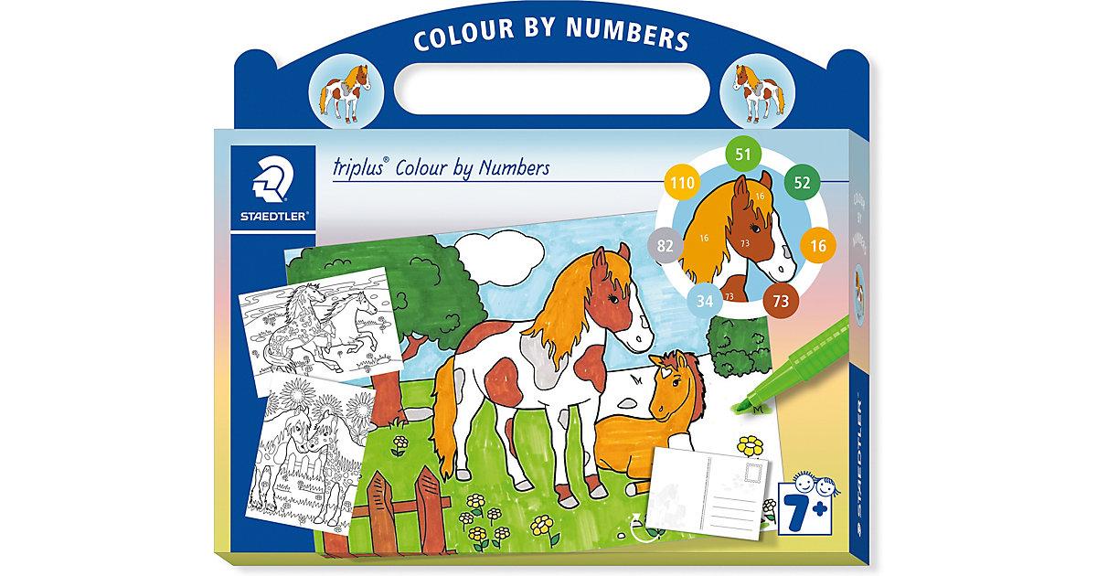 Malset triplus Colour by Numbers Pferde, inkl. Stifte, 13-tlg.