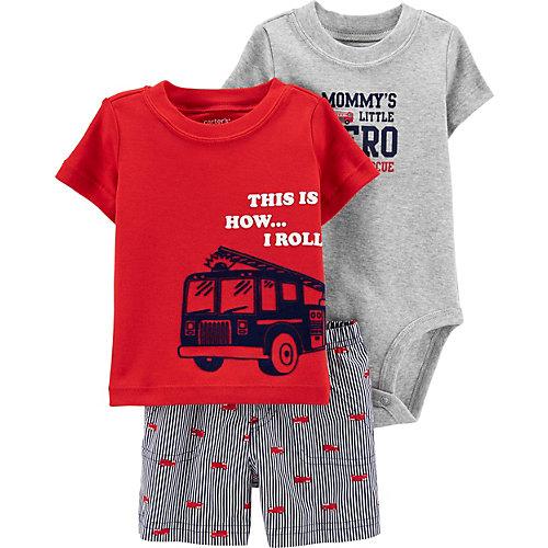 Комплект Carters: футболка, боди и шорты - красный от carter`s