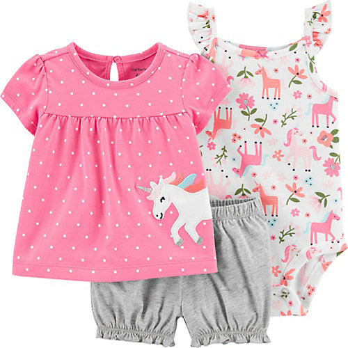 Комплект Carters: футболка, боди и шорты - блекло-розовый от carter`s