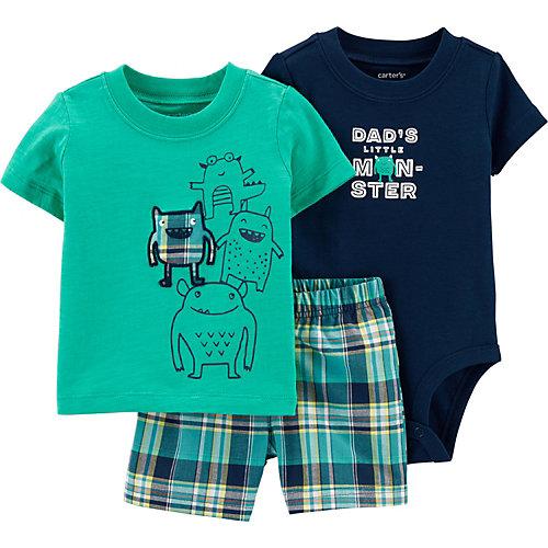 Комплект Carters: футболка, боди и шорты - бирюзовый от carter`s