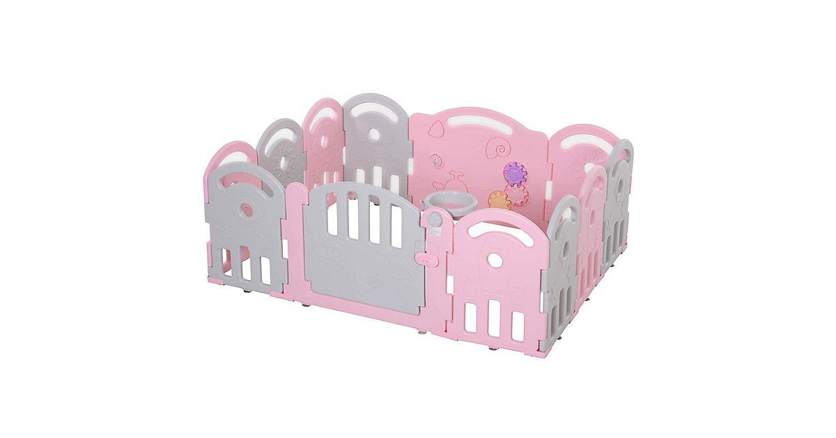 Baby Schutzgitter mit Ballkorb und 3 Zahnräder rosa | Kinderzimmer | HOMCOM
