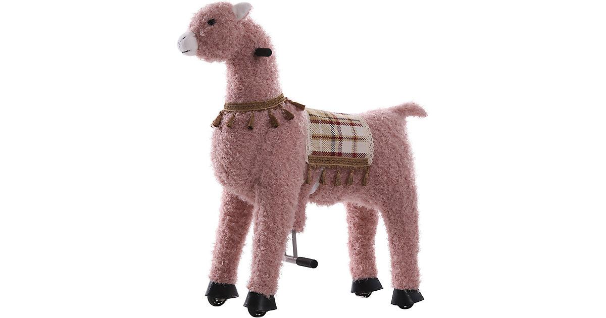 Sweety Toys 11391 Reittier groß Alpaka rosa auf Rollen, 104 cm