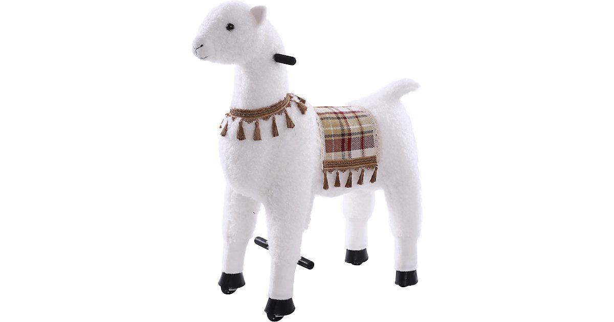 Sweety Toys 11407 Reittier groß Alpaka weiß auf Rollen, 104 cm