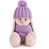 Мягкая игрушка Budi Basa Зайка Ми в сиреневой шапочке и шарфе, 15 см