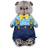 Мягкая игрушка Budi Basa Кот Басик в джинсах с подтяжками, 19 см