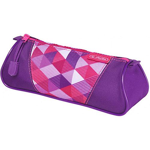 Пенал-косметичка Herlitz Triangular Pink Cubes - сиреневый от herlitz