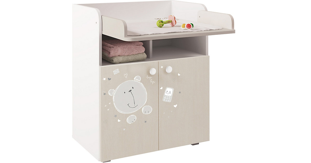 Image of Baby Wickelkommode Wickeltisch 1270 French Teddy weiß pastell eiche