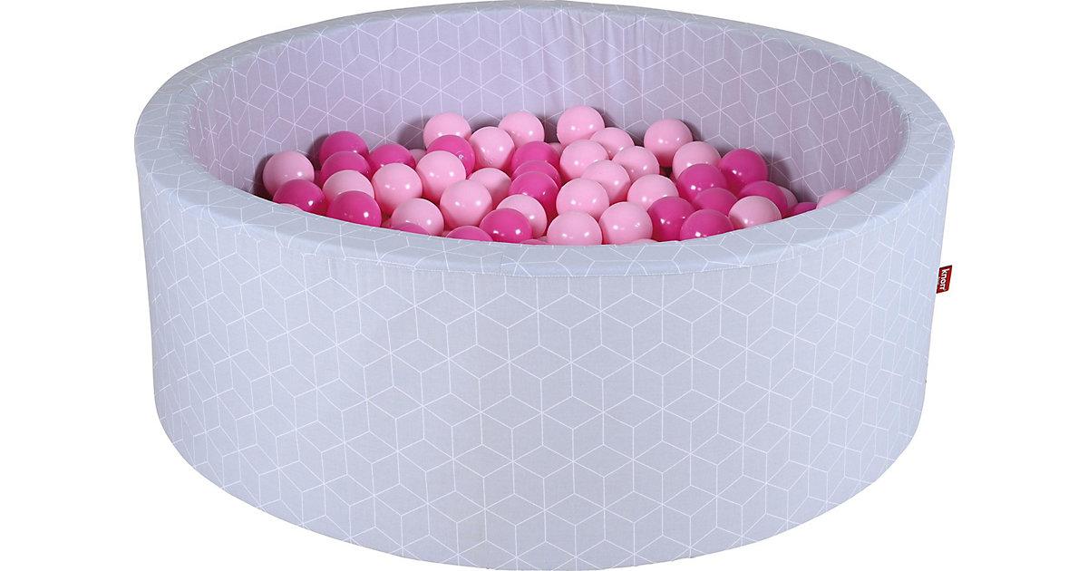 "Bällebad soft - ""Geo cube grey"" - 300 balls soft pink grau"