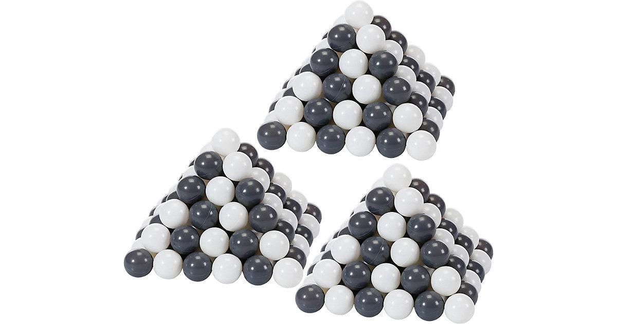 300 Bälle Bällebad, ca. Ø 6 cm - grau/creme, BPA-frei schwarz/weiß  Kleinkinder