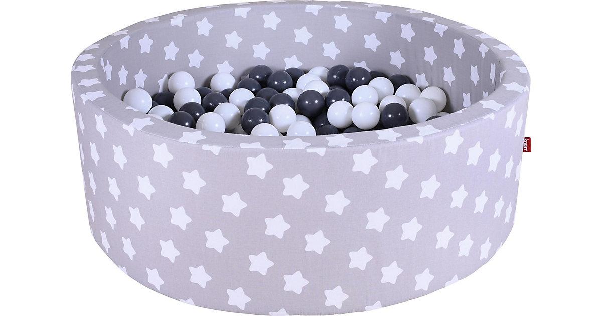 "Bällebad soft - ""Grey white stars"" - 300 balls grey/creme grau"