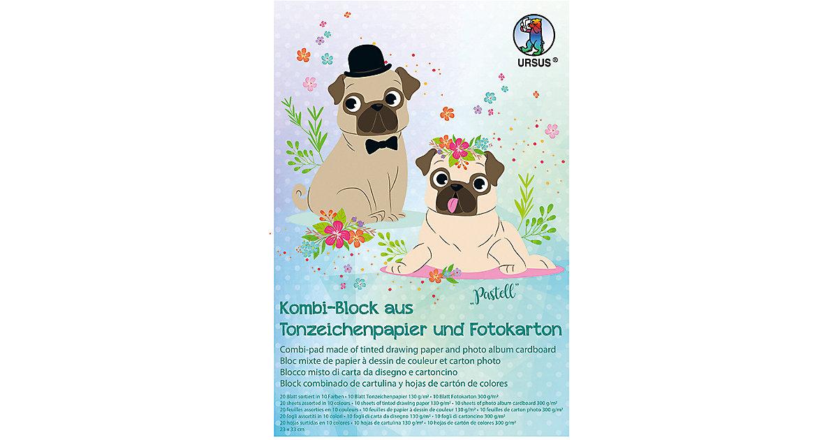 "Kombi-Block 23X33cm,20Blatt Tonpapier + Fotokarton ""Pastell"" pastell"