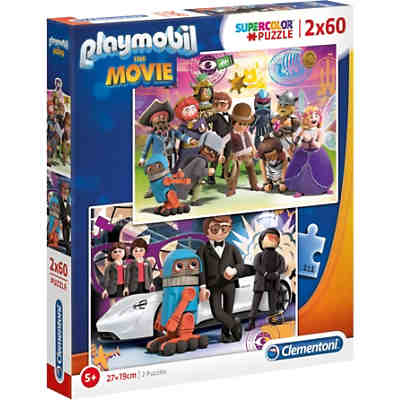 Puzzle 2 x 60 Teile Supercolor Playmobil the Movie