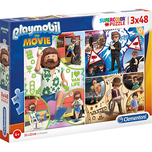 Puzzle 3 x 48 Teile Supercolor Playmobil the Movie
