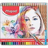 Акварельные карандаши Maped Artist с кисточкой, 24 цвета
