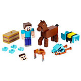 Набор фигурок Minecraft Steve and Armored Horse