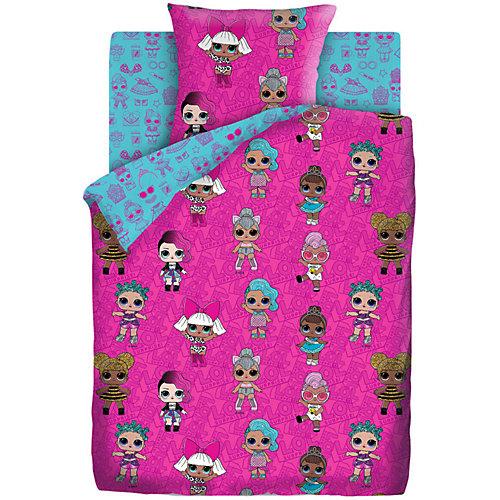 Комплект постельного белья 1,5 сп LOL Surprise! Dolls, наволочки 70х70 см - розовый