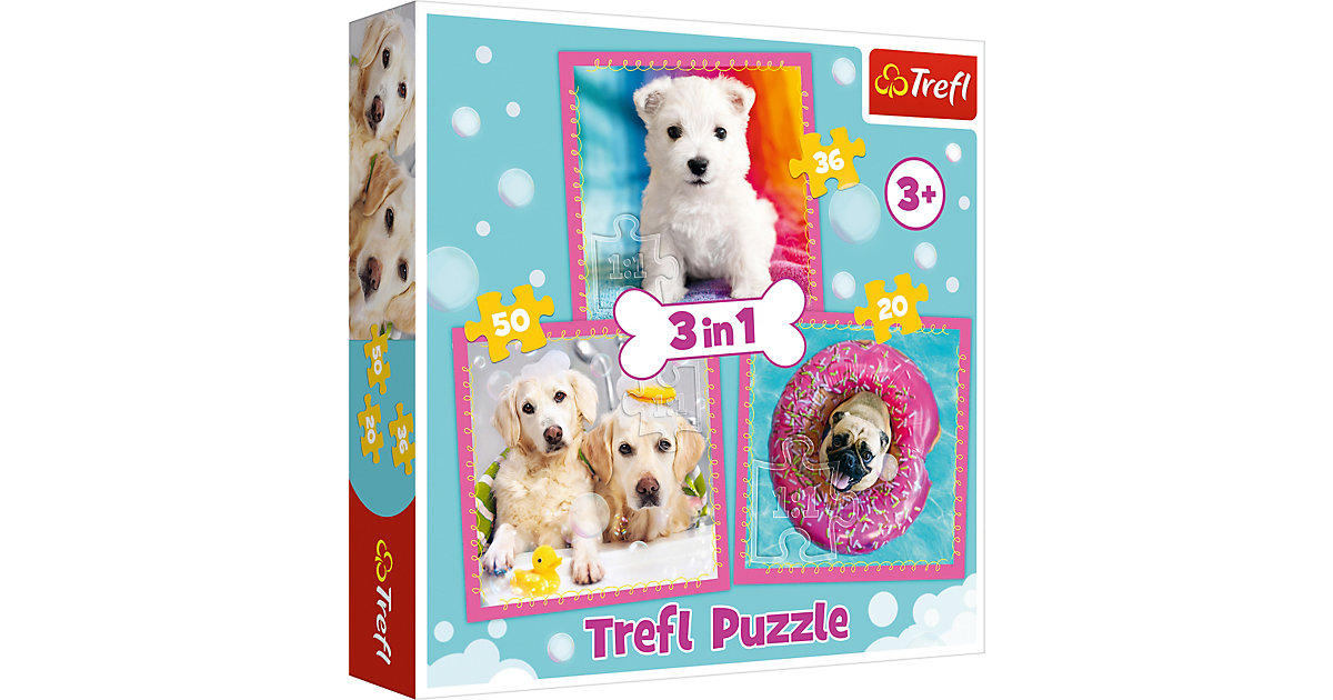 Puzzle 3 in 1 - Dogs in the bath