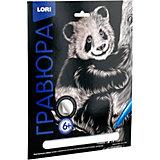 """Гравюра большая Lori """"Озорная панда"""", серия Классика с эффектом серебра"""