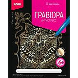 """Гравюра большая Lori """"Ученый кот"""", серия Антистресс с эффектом золота"""