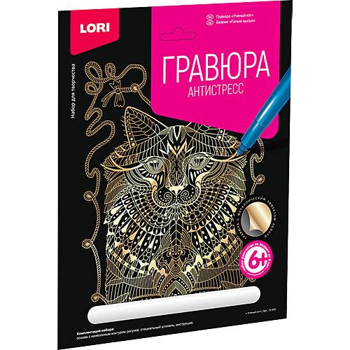 """Гравюра большая Lori """"Ученый кот"""", серия Антистресс с эффектом золота от LORI"""