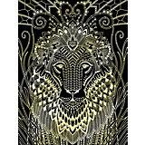 """Гравюра большая Lori """"Златогривый лев"""", серия Антистресс с эффектом золота"""