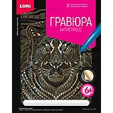 """Гравюра большая Lori """"Отважный тигр"""", серия Антистресс с эффектом золота"""