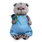 Мягкая игрушка Budi Basa Кот Басик в голубом комбинезоне с розочкой, 19 см