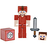 Маленькая фигурка Minecraft Steve in red leather armor, с артикуляцией