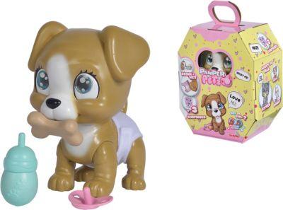 Pamper Petz Hund - Tierbaby mit Trink- und Nässfunktion, magischer Pfote & 3 Überraschungen braun-kombi