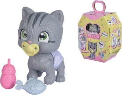 Pamper Petz Katze - Tierbaby mit Trink- und Nässfunktion, magischer Pfote & 3 Überraschungen grau