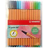 Набор капиллярных ручек Stabilo Point 88 Pastel, 15 цветов