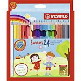 Набор цветных карандашей Stabilo Swans, 24 цвета