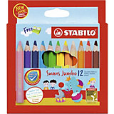 Набор цветных карандашей Stabilo Swans Jumbo, 12 цветов