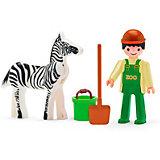 Игровая фигурка Efko Сотрудник зоопарка с зеброй, 8 см, с аксессуарами