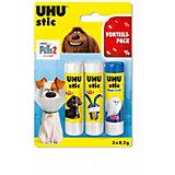 """Клей-карандаш UHU """"Домашние животные 2"""", 3 штуки"""