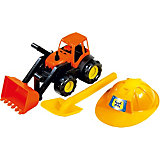 Песочный набор Zebratoys Трактор c каской и лопатой