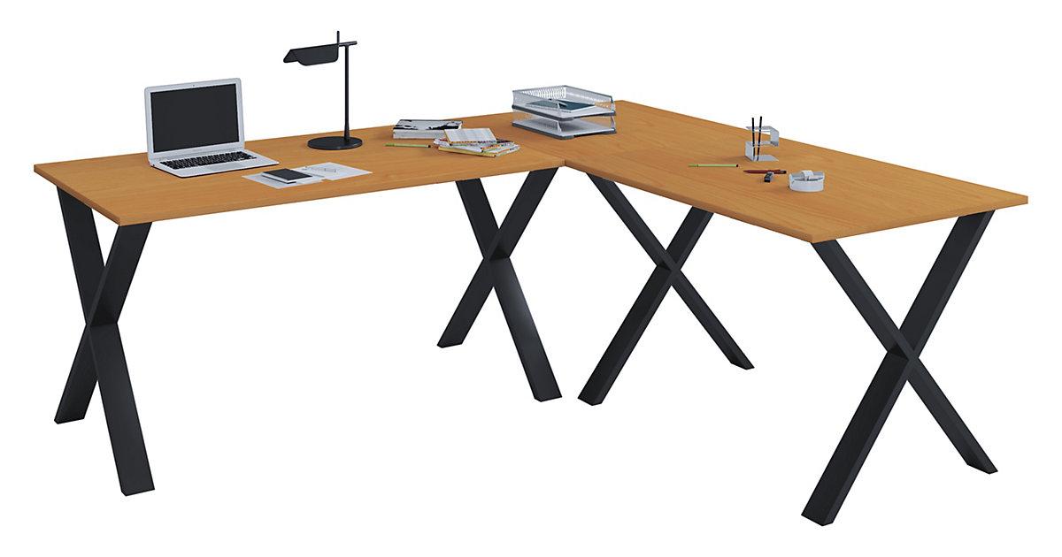 Eckschreibtisch, Schreibtisch, Büromöbel, Computertisch, Winkeltisch, Tisch, Büro, Lona, 190 x 190 x 80 cm braun | Büro > Bürotische > Schreibtische | VCM
