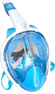 Full Face Schnorchel-Maske, Gr. L/XL, blau-weiß transparent