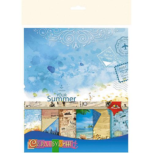 """Цветная бумага для скрапбукинга Апплика """"Отпуск"""", 15х15 см, 6 листов от АппликА"""