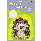 """Двухсторонний цветной картон Апплика """"Ёжик"""", А4, 12 листов"""