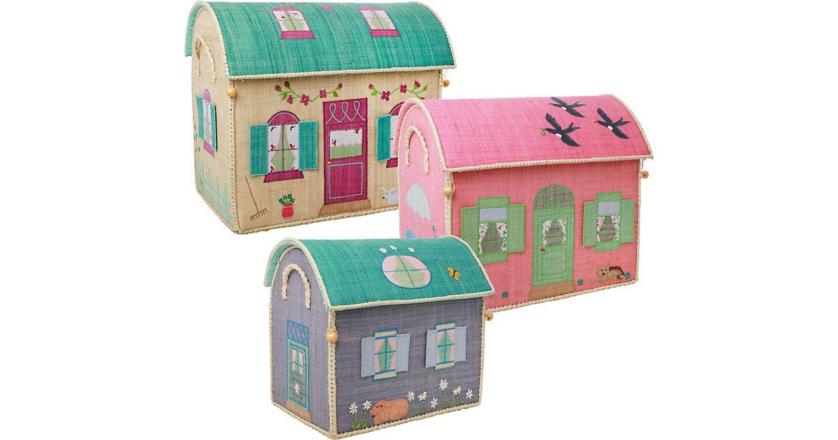 Image of Aufbewahrungsbox Raffia-Bast Haus, 3er Set