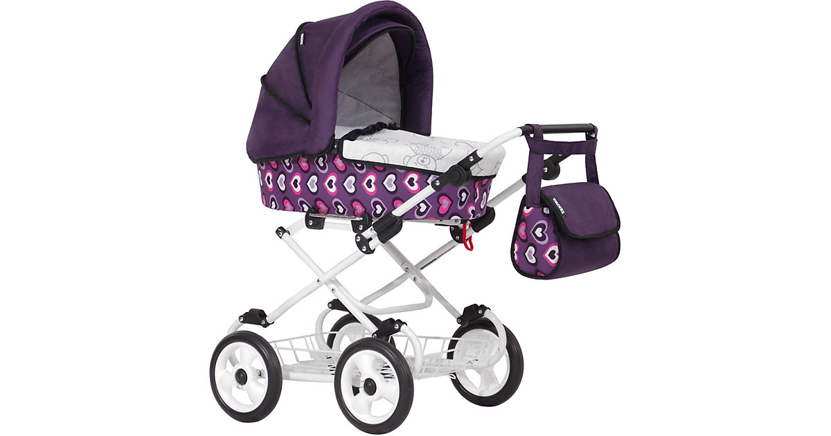 Wannenpuppenwagen Looky, Dessin: Herzen Violett violett